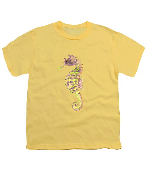 Violet Green Seahorse Youth T-Shirt by Amy Kirkpatrick