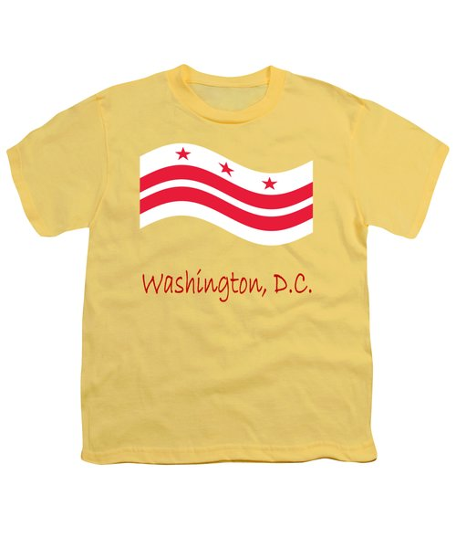 Waving District Of Columbia Flag And Name Youth T-Shirt
