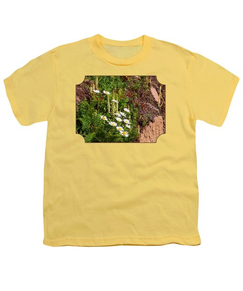 Wild Daisies In The Rocks Youth T-Shirt by Gill Billington