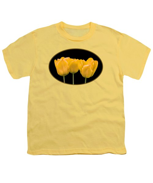 Yellow Tulip Triple Youth T-Shirt by Gill Billington
