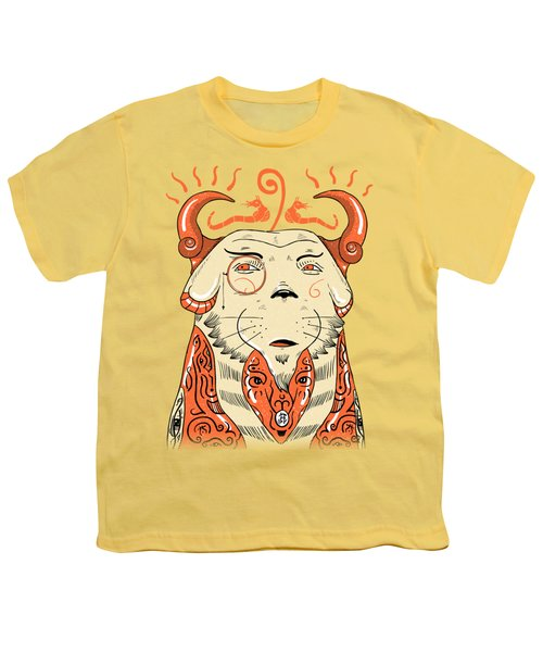Youth T-Shirt featuring the drawing Surreal Cat by Sotuland Art