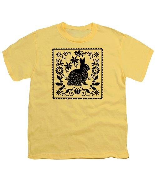 Woodland Folk Black And White Bunny Youth T-Shirt