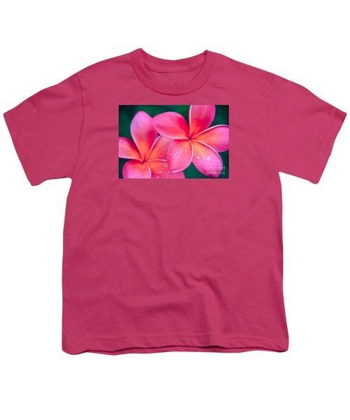 Aloha Hawaii Kalama O Nei Pink Tropical Plumeria Youth T-Shirt by Sharon Mau