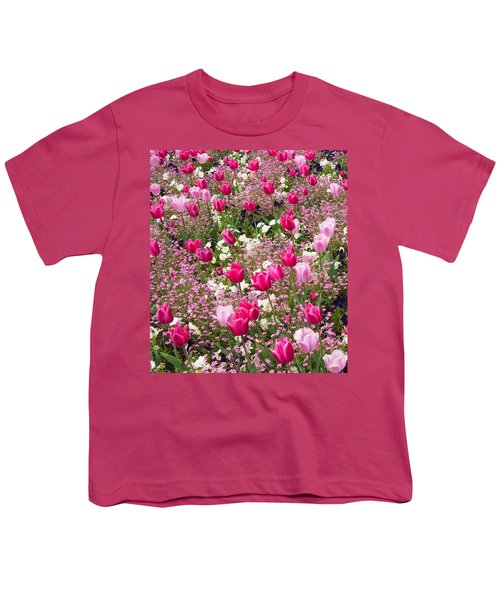 Colorful Pink Tulips And Other Flowers In Spring Youth T-Shirt
