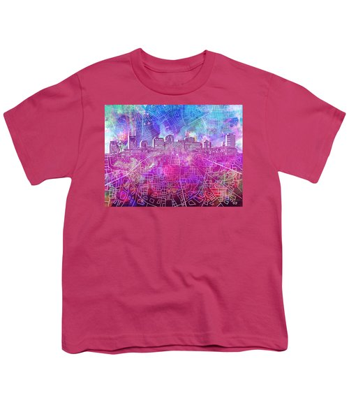 Nashville Skyline Watercolor Youth T-Shirt