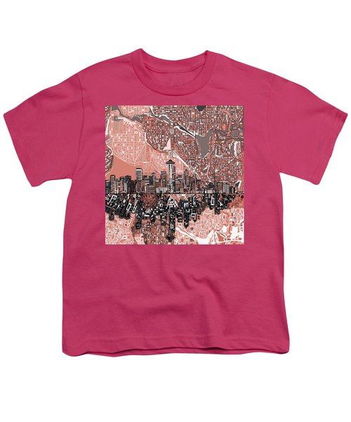 Seattle Skyline Abstract 5 Youth T-Shirt