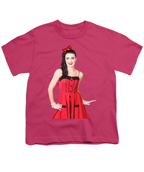 Youth T-Shirt featuring the photograph Beautiful Pinup Girl With Pretty Smile by Jorgo Photography - Wall Art Gallery