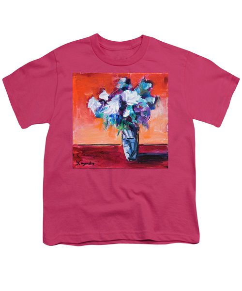 Blue Flowers In A Vase Youth T-Shirt