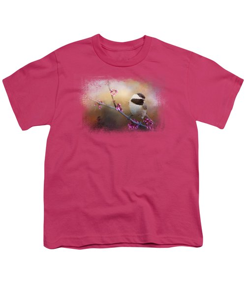 Chickadee And Pink Blooms Youth T-Shirt