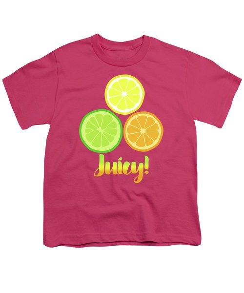 Cute Juicy Orange Lime Lemon Citrus Fun Art Youth T-Shirt by Tina Lavoie