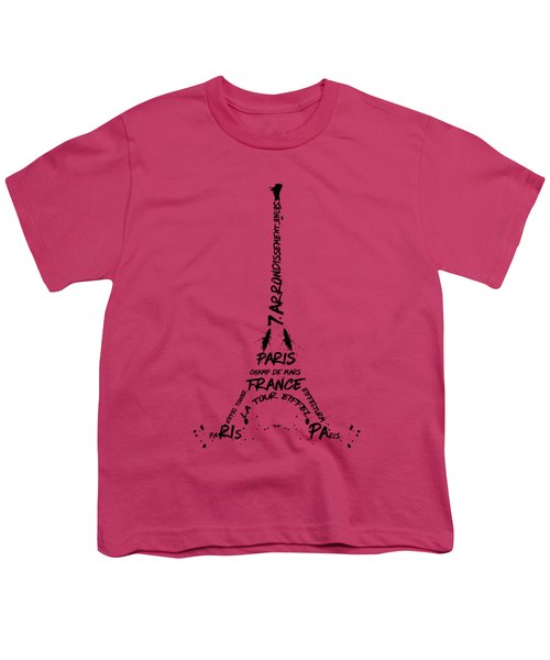 Digital-art Eiffel Tower Youth T-Shirt by Melanie Viola