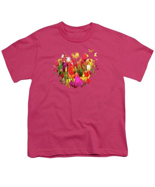 Field Of Tulips Youth T-Shirt by Thom Zehrfeld