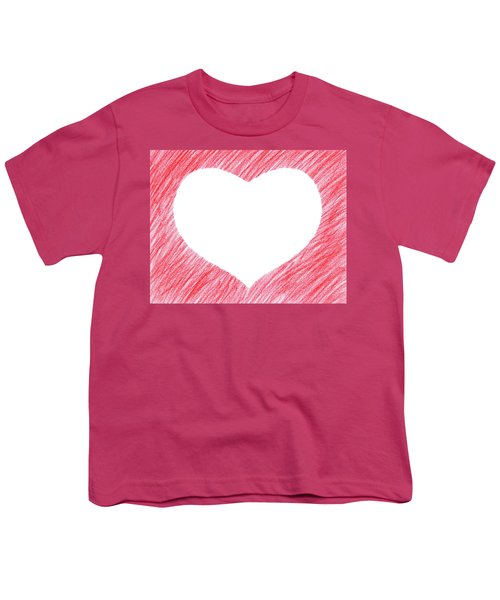 Hand-drawn Red Heart Shape Youth T-Shirt by GoodMood Art