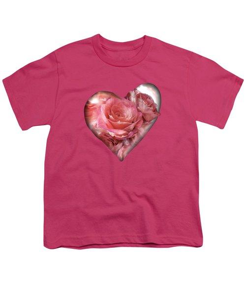 Heart Of A Rose - Melon Peach Youth T-Shirt by Carol Cavalaris