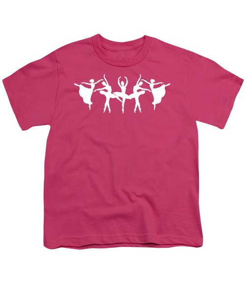 Passionate Dance Ballerinas Silhouettes In White Youth T-Shirt