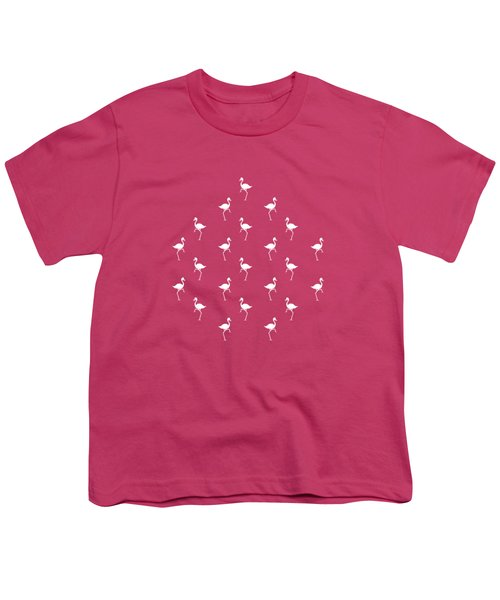 Pink Flamingos Pattern Youth T-Shirt by Christina Rollo