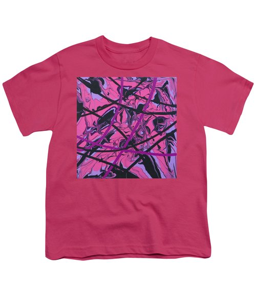 Pink Swirl Youth T-Shirt by Teresa Wing