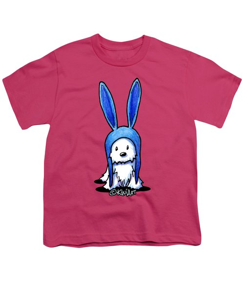 Rabbit Ears Westie Youth T-Shirt by Kim Niles