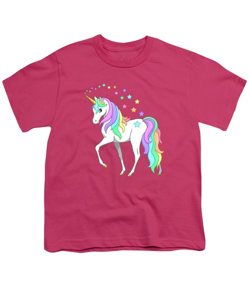 Rainbow Unicorn Clouds And Stars Youth T-Shirt by Crista Forest