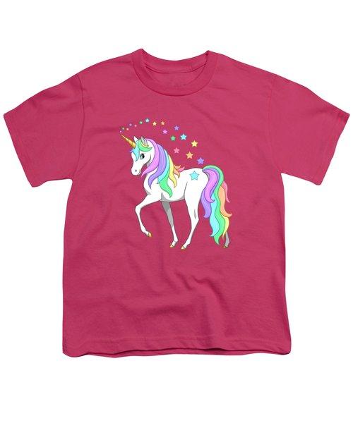 Rainbow Unicorn Clouds And Stars Youth T-Shirt