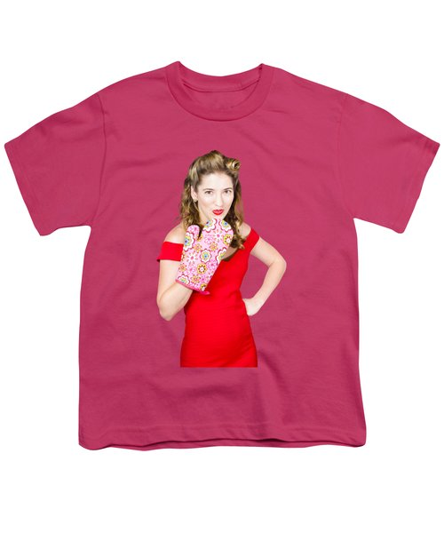 Surprise Cooking Pinup Woman With Cook Mitt Youth T-Shirt by Jorgo Photography - Wall Art Gallery