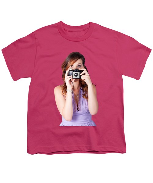 Youth T-Shirt featuring the photograph Surprised Woman Taking Picture With Old Camera by Jorgo Photography - Wall Art Gallery