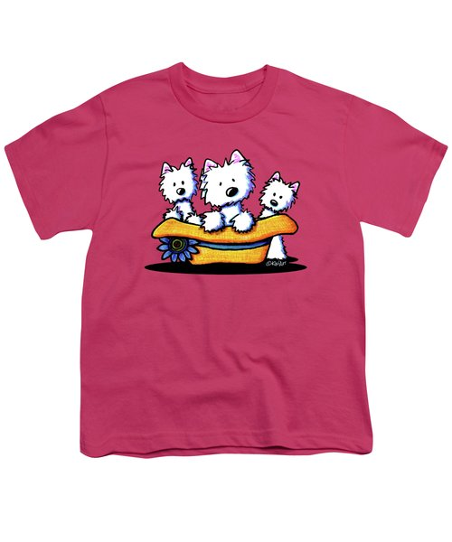 Westie Hat Trio Youth T-Shirt by Kim Niles
