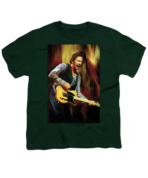 Bruce Springsteen Artwork Youth T-Shirt by Sheraz A