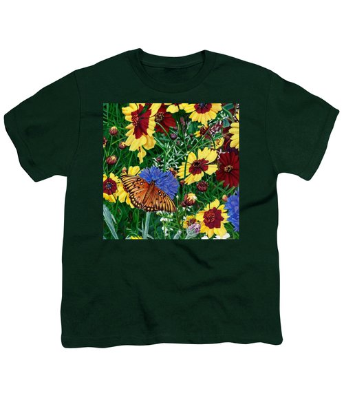 Butterfly Wildflowers Garden Floral - Square Format Image - Spring Decor - Green Blue Orange-2 Youth T-Shirt