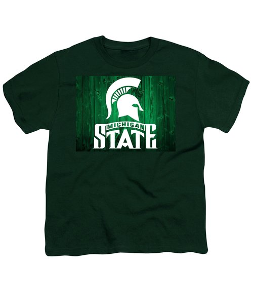 Michigan State Barn Door Youth T-Shirt by Dan Sproul