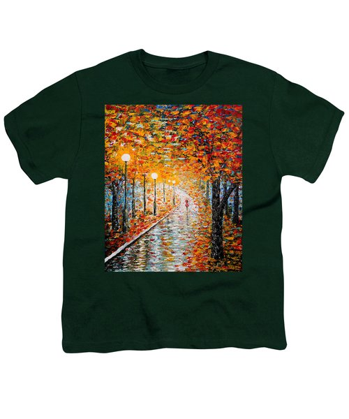 Youth T-Shirt featuring the painting Rainy Autumn Day Palette Knife Original by Georgeta  Blanaru