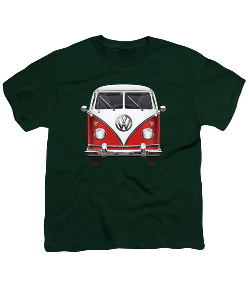 Volkswagen Type 2 - Red And White Volkswagen T 1 Samba Bus Over Green Canvas  Youth T-Shirt