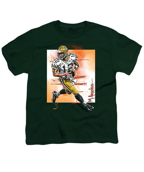 Aaron Rodgers Scrambles Youth T-Shirt by Maria Arango