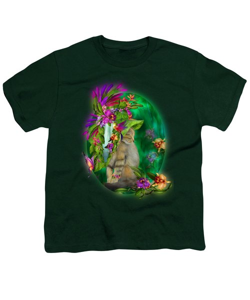 Cat In Tropical Dreams Hat Youth T-Shirt