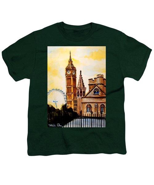 Big Ben And London Eye - Art By Dora Hathazi Mendes Youth T-Shirt by Dora Hathazi Mendes