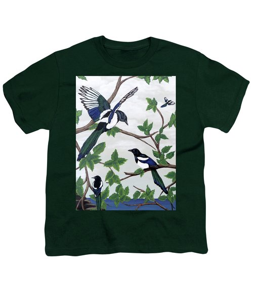 Black Billed Magpies Youth T-Shirt by Teresa Wing