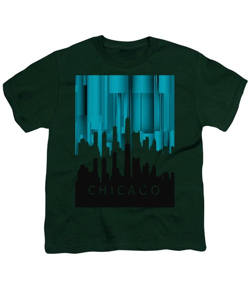 Chicago Turqoise Vertical In Negetive Youth T-Shirt