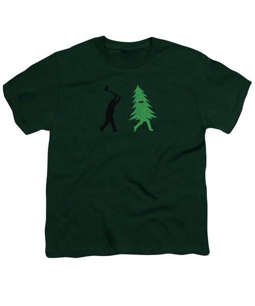 Funny Cartoon Christmas Tree Is Chased By Lumberjack Run Forrest Run Youth T-Shirt