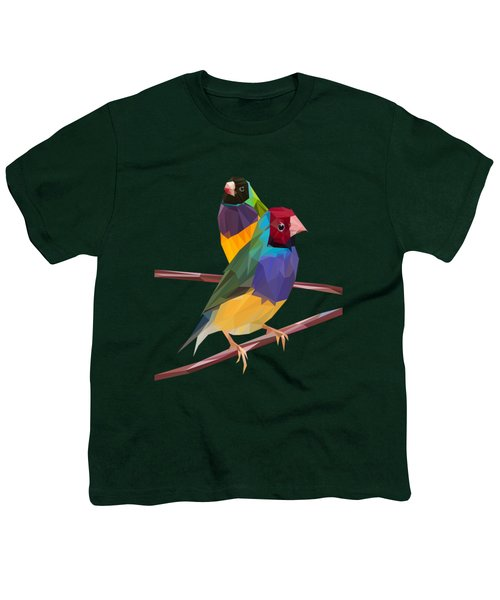 Gouldian Finch Duo Youth T-Shirt by James Bryson