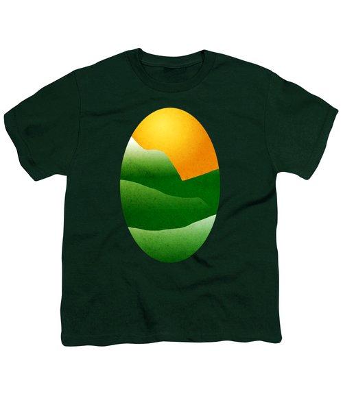 Green Mountain Sunrise Landscape Art Youth T-Shirt