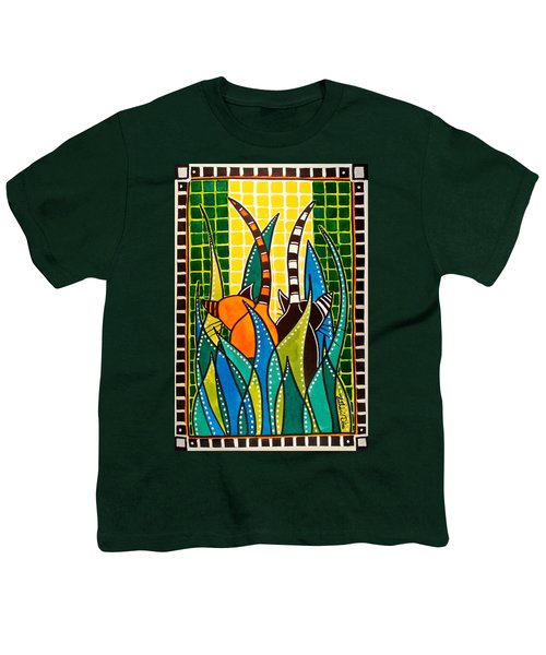 Youth T-Shirt featuring the painting Hide And Seek - Cat Art By Dora Hathazi Mendes by Dora Hathazi Mendes