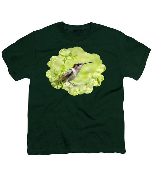 Hummingbird Hiding In Flowers Youth T-Shirt by Christina Rollo