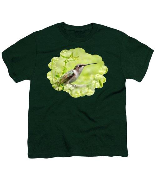 Hummingbird Hiding In Flowers Youth T-Shirt