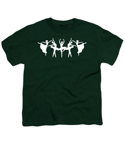 Passionate Dance White Ballerinas Silhouettes Youth T-Shirt