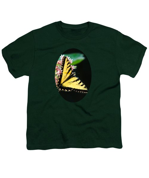 Swallowtail Butterfly And Milkweed Flowers Youth T-Shirt by Christina Rollo