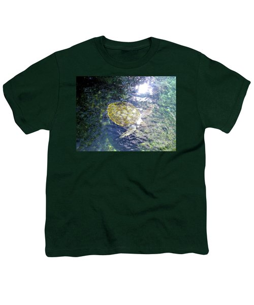 Youth T-Shirt featuring the photograph Turtle Water Glide by Francesca Mackenney