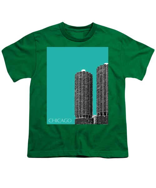 Chicago Skyline Marina Towers - Teal Youth T-Shirt