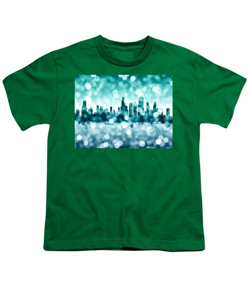 Chicago Illinois Skyline Youth T-Shirt by Michael Tompsett