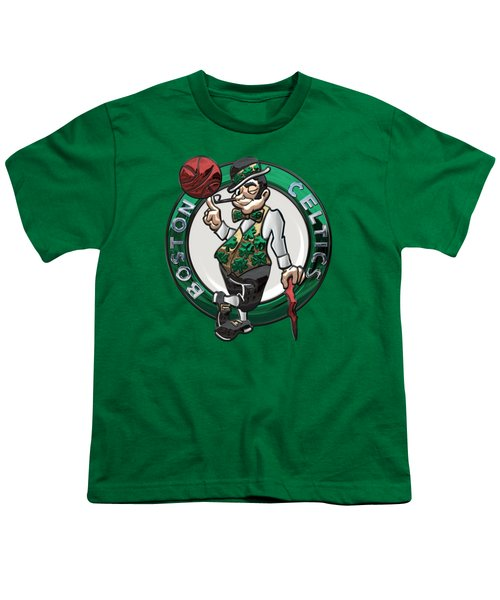 Boston Celtics - 3 D Badge Over Flag Youth T-Shirt by Serge Averbukh