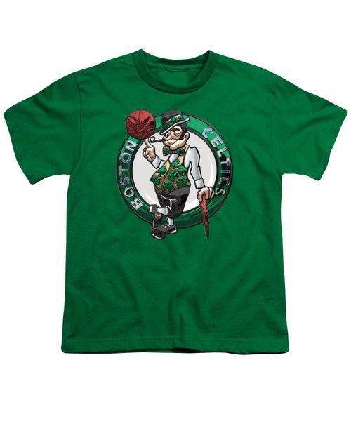 Boston Celtics - 3 D Badge Over Flag Youth T-Shirt